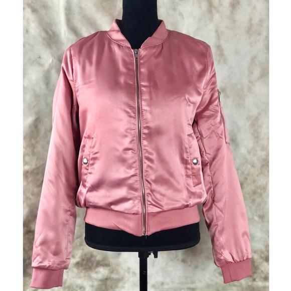 Pink Satin Bomber Jacket Boutique